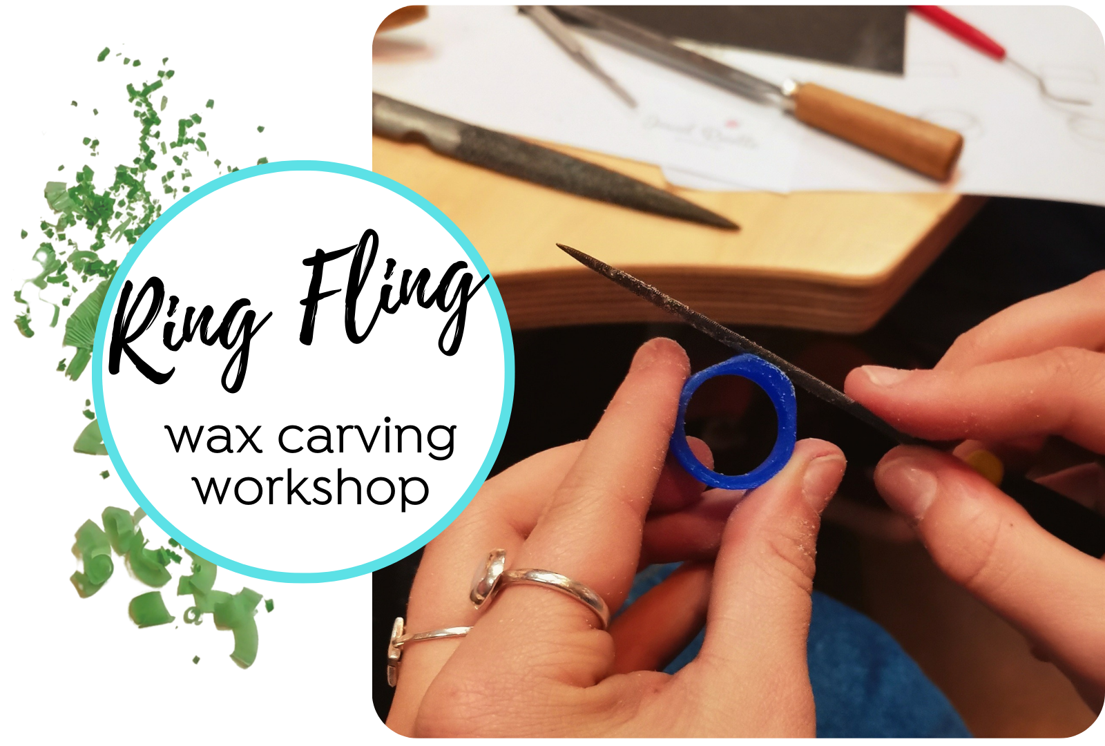 Ring Fling Workshop at Jewel Beettle demonstrating wax carving and jewellery